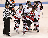Brittany Esposito (NU - 7), Kelly Wallace (NU - 5), Tori Hickel (NU - 55), Paige Savage (NU - 28), Maggie Brennolt (NU - 22) - The Northeastern University Huskies defeated Boston College Eagles 4-3 to repeat as Beanpot champions on Tuesday, February 12, 2013, at Matthews Arena in Boston, Massachusetts.