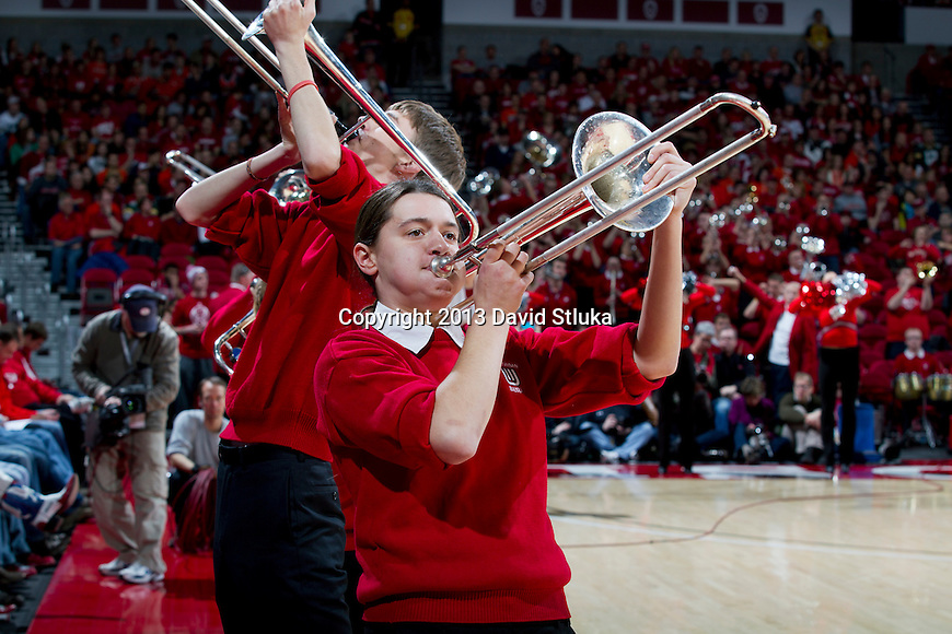 Wisconsin Badgers trombone players perform during an NCAA Big Ten Conference college basketball game against the Illinois Fighting Illini Saturday, January 12, 2013 in Madison, Wis. The Badgers won 74-51. (Photo by David Stluka)
