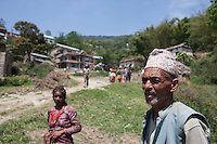 Villagers from Sudal,  Kathmandu, Nepal,  waits for relief. May 05, 2015