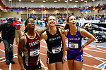 NAPERVILLE, IL - MARCH 11: From left, Jordin Fender of Transylvania, Rachel Kraske of George Fox and Dallas Edge of Linfield watch results come in after the 60 meter hurdles at the Division III Men's and Women's Indoor Track and Field Championship held at the Res/Rec Center on the North Central College campus on March 11, 2017 in Naperville, Illinois. (Photo by Steve Woltmann/NCAA Photos via Getty Images)