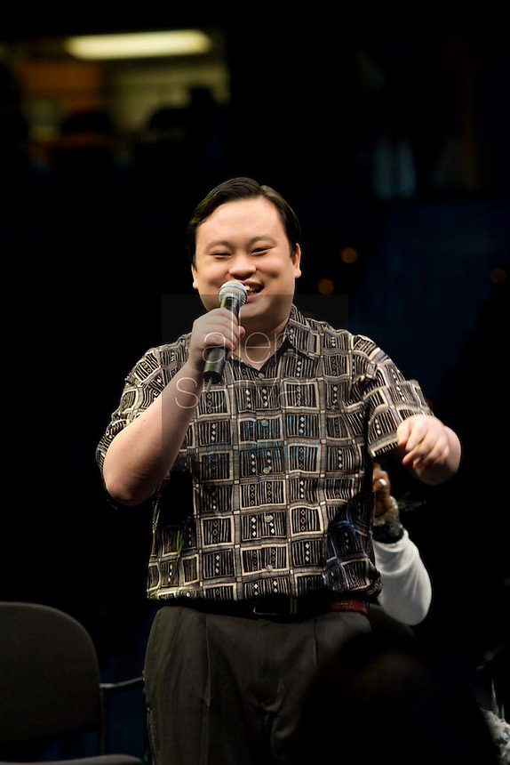 "Former ""American Idol"" contestant William Hung sings during a Dreams N2 Reality show and casting call at Philips Arena in Atlanta on Saturday, August 4, 2007. People offered their auditions in hopes of gaining spots on game shows and others in the reality TV genre."