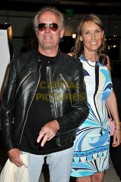 "PETER FONDA & PORTIA.""Whatever Works"" Los Angeles Premiere held at the Pacific Design Center, West Hollywood, CA, USA..June 8th, 2009.half length sunglasses shades black leather jacket white blue pucci print dress married husband wife .CAP/ADM/BP.©Byron Purvis/AdMedia/Capital Pictures."