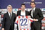 Atletico de Madrid's new player Cani (c), with the President Enrique Cerezo (l) and the General Manager Jose Luis Perez Caminero during his official presentation. January 9, 2015. (ALTERPHOTOS/Acero)