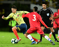BOGOTA - COLOMBIA, 03-06-2019: James Rodriguez jugador de Colombia disputa el balón con Kevin Galvan jugador de Panamá durante partido amistoso entre Colombia y Panamá jugado en el estadio El Campín en Bogotá, Colombia. / James Rodriguez player of Colombia fights the ball with Kevin Galvan player of Panama during a friendly match between Colombia and Panama played at Estadio El Campin in Bogota, Colombia. Photo: VizzorImage / Nelson Rios / Cont