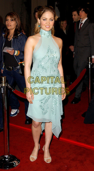 ERIKA CHRISTENSEN.The World Premiere of The Perfect Score held at The Cinerama Dome in Hollywood, California .27 January 2004                                                   .*UK Sales Only*.full length, full-length, blue floaty halterneck sequin dress, sandals .www.capitalpictures.com.sales@capitalpictures.com.©Capital Pictures.
