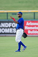 AZL Cubs right fielder Jonathan Sierra (22) on defense against the AZL Rangers on July 24, 2017 at Sloan Park in Mesa, Arizona. AZL Cubs defeated the AZL Rangers 2-1. (Zachary Lucy/Four Seam Images)