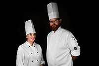 Melbourne, 30 May 2017 - Brooke Noble commis chef and Andrew Ballard of the Simmer Culinary in Mornington pose for a photograph at the Australian selection trials of the Bocuse d'Or culinary competition held during the Food Service Australia show at the Royal Exhibition Building in Melbourne, Australia. Photo Sydney Low