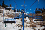 SODA SPRINGS, CA - JANUARY 15, 2014: Lifts sit idle at Donner Ski Ranch as an unseasonably dry winter in California stokes fears of a severe drought. CREDIT: Max Whittaker for The New York Times
