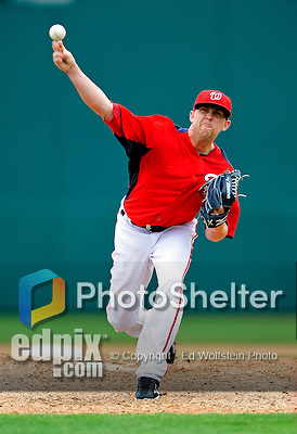 1 March 2011: Washington Nationals' pitcher Drew Storen on the mound during a Spring Training game against the New York Mets at Space Coast Stadium in Viera, Florida. The Nationals defeated the Mets 5-3 in Grapefruit League action. Mandatory Credit: Ed Wolfstein Photo