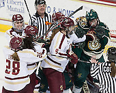 Meagan Mangene (BC - 24), Kate Leary (BC - 28), Dana Trivigno (BC - 8), Taylor Wasylk (BC - 9), Delia McNally (UVM - 17) - The Boston College Eagles defeated the visiting University of Vermont Catamounts 2-0 on Saturday, January 18, 2014, at Kelley Rink in Conte Forum in Chestnut Hill, Massachusetts.