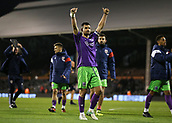 31st October 2017, Craven Cottage, London, England; EFL Championship football, Fulham versus Bristol City; Bailey Wright of Bristol City celebrating towards the Bristol City fans after the final whistle as Bristol City defeat Fulham at Craven Cottage by 0-2