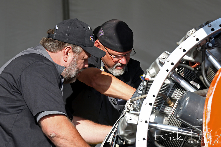 Rare Bear team work on Rare Bear's R3500 radial engine.
