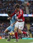 Ilkay Gundogan of Manchester City tussles with Marten de Roon of Middlesbrough during the Premier League match at the Etihad Stadium, Manchester. Picture date: November 5th, 2016. Pic Simon Bellis/Sportimage