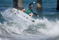 Huntington Beach, CA - Tuesday July 31, 2018: Beyrick De Vries in action during a World Surf League (WSL) Qualifying Series (QS) Men's round of 96 heat at the 2018 Vans U.S. Open of Surfing on South side of the Huntington Beach pier.