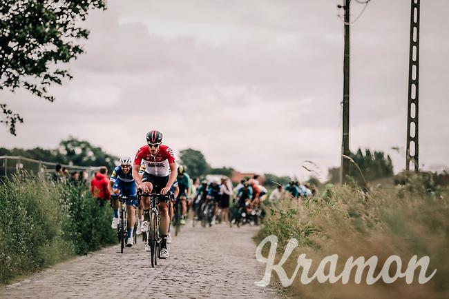 Nikolas Maes (BEL/Lotto Soudal) leading the Peloton over the cobbles.<br /> <br /> <br /> <br /> 2nd Elfstedenronde 2018<br /> 1 day race: Brugge - Brugge 196.3km