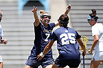CHAPEL HILL, NC - MAY 20: Navy's Kelly Larkin (7) celebrates her goal with Kayla Harris (25). The University of North Carolina Tar Heels hosted the U.S. Naval Academy Midshipmen on May 20, 2017, at Fetzer Field in Chapel Hill, NC in an NCAA Women's Lacrosse Tournament Quarterfinal match. Navy won the game 16-14.