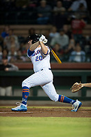 Scottsdale Scorpions first baseman Peter Alonso (20), of the New York Mets organization, follows through on his swing during an Arizona Fall League game against the Mesa Solar Sox on October 9, 2018 at Scottsdale Stadium in Scottsdale, Arizona. The Solar Sox defeated the Scorpions 4-3. (Zachary Lucy/Four Seam Images)