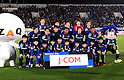 "Gamba Osaka team group line-up,.MARCH 25, 2011 - Football / Soccer :.Gamba Osaka players (Top row - L to R) Sota Nakazawa, Yasuyuki Konno, Takuya Takei, Yosuke Fujigaya, Akira Kaji, (Middle row - L to R) Yasuhito Endo, Takahiro Futagawa, Lee Seung Yeoul, Rafinha, Hiroki Fujiharu and Paulinho pose for a team photo with the club mascot ""Gamba Boy""(R) and ZAQ's character ""Zaqu""(L) before the 2012 J.League Division 1 match between Gamba Osaka 1-2 Jubilo Iwata at Expo '70 Stadium in Osaka, Japan. (Photo by AFLO)"