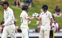 2nd December, Hamilton, New Zealand; England's Joe Root and Ollie Pope (L) on day 4 of the 2nd test cricket match between New Zealand and England  at Seddon Park, Hamilton, New Zealand.