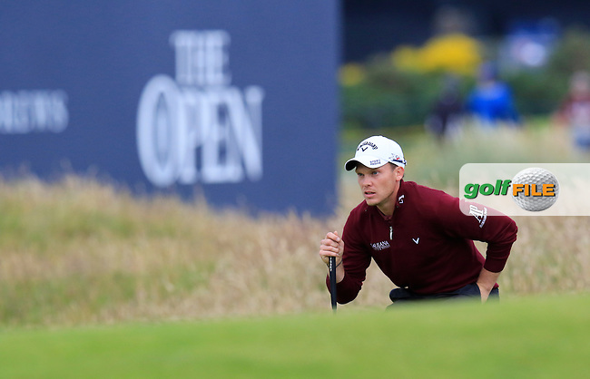 Danny WILLETT (ENG) lines up his putt at the 17th green during Monday's Final Round of the 144th Open Championship, St Andrews Old Course, St Andrews, Fife, Scotland. 20/07/2015.<br /> Picture Eoin Clarke, www.golffile.ie