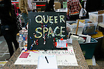 Queer Space sign at the Occupy Wall Street protest encampment at Zuccotti Park, in Lower Manhattan, October 22, 2001.