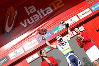 Simon Clarke celebrates the victory in the stage of La Vuelta 2012 between Barakaldo and Valdezcaray in presence of Tony Martin (r) second calsified.August 21,2012. (ALTERPHOTOS/Acero) /NortePhoto.com