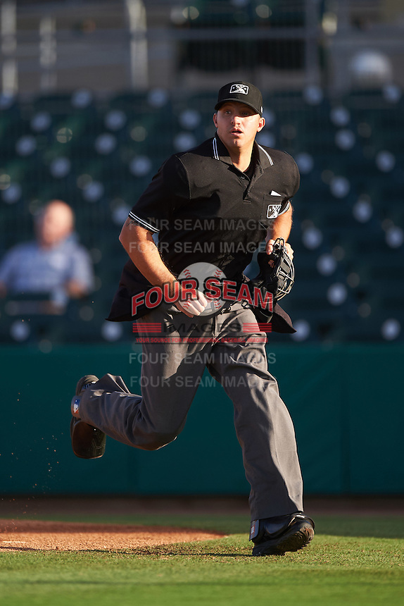 Umpire Justin Robinson during a game between the Jupiter Hammerheads and Palm Beach Cardinals on August 12, 2016 at Roger Dean Stadium in Jupiter, Florida.  Jupiter defeated Palm Beach 9-0.  (Mike Janes/Four Seam Images)