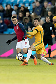 23rd March 2018, Ullevaal Stadion, Oslo, Norway; International Football Friendly, Norway versus Australia; Mohamed Elyounoussi of Norway competes for the ball