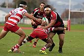 Leo Vailepa is tackled by Sunia Vosikata. Counties Manukau Premier Club Rugby game between Papakura and Karaka played at Massey Park Papakura on Saturday May 5th 2018. Papakuar won the game 28 - 25 after trailing 6 - 12 at halftime.<br /> Papakura - Faalae Peni, Darryl Hemopo, George Crichton, Federick Cain tries, Faalae Peni conversion; Faalae Peni 2 penalties, Karaka -Salesitangi Savelio, Cardiff Vaega, Walter Fifita tries, Juan Benadie 2 conversions, Juan Benadie 2 penalties.<br /> Photo by Richard Spranger.