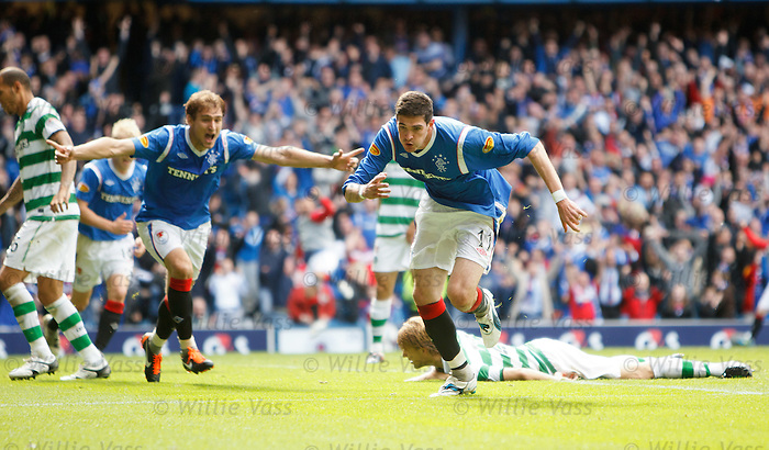 Kyle Lafferty celebrates after scoring the third goal for Rangers