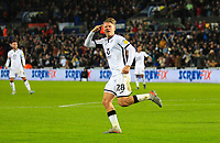 29th November 2019; Liberty Stadium, Swansea, Glamorgan, Wales; English Football League Championship, Swansea City versus Fulham; George Byers of Swansea City celebrates after scoring his sides first goal in the 65th minute for 1-2 - Strictly Editorial Use Only. No use with unauthorized audio, video, data, fixture lists, club/league logos or 'live' services. Online in-match use limited to 120 images, no video emulation. No use in betting, games or single club/league/player publications