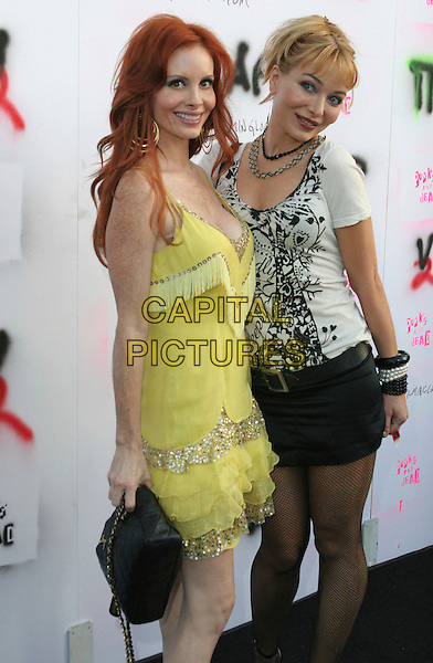 "PHOEBE PRICE & LORIELLE NEW  .""Punks Not Dead"" Los Angeles Premiere held at the Henry Fonda Music Box Theater, Hollywood, California, USA..May 30th, 2007.full 3/4 length yellow tassles tassles dress black skirt bracelets bangles  white top pattern gold sequins .CAP/ADM/CH.©Charles Harris/AdMedia/Capital Pictures"
