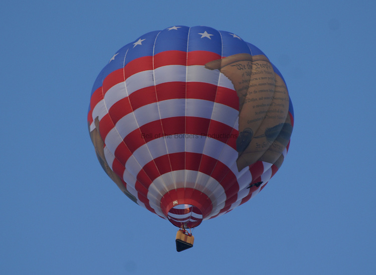 Hot air balloon with the Declaration of Independence on it.