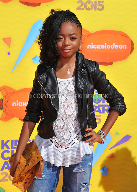 WWW.ACEPIXS.COM<br /> <br /> March 28 2015, LA<br /> <br /> Skai Jackson arriving at Nickelodeon's 28th Annual Kids' Choice Awards at The Forum on March 28, 2015 in Inglewood, California. <br /> <br /> <br /> By Line: Peter West/ACE Pictures<br /> <br /> <br /> ACE Pictures, Inc.<br /> tel: 646 769 0430<br /> Email: info@acepixs.com<br /> www.acepixs.com