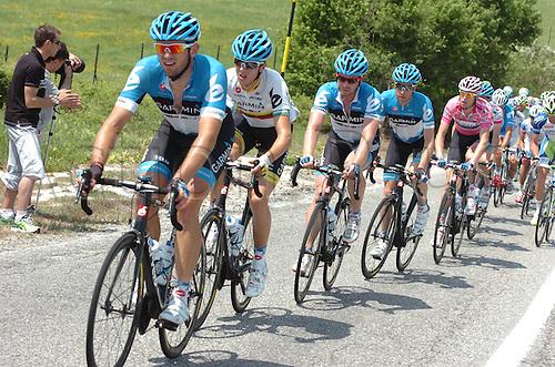 13.05.2012. Sulmona, Italy.  Giro d'Italia, 13.05.2stage 8 Sulmona to  Lago Laceno, Garmin - Barracuda 2012, Hesjedal Ryder, Navardauskas Ramunas