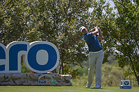 Brian Stuard (USA) watches his tee shot on 18 during day 1 of the Valero Texas Open, at the TPC San Antonio Oaks Course, San Antonio, Texas, USA. 4/4/2019.<br /> Picture: Golffile | Ken Murray<br /> <br /> <br /> All photo usage must carry mandatory copyright credit (© Golffile | Ken Murray)