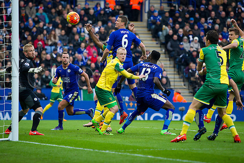 27.02.2016. King Power Stadium, Leicester, England. Barclays Premier League. Leicester City versus Norwich City. Cameron Jerome of Norwich City heads for goal from a corner but is just wide for a golden chance to go aheadide from a header from a corner.