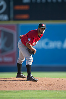 Vancouver Canadians starting pitcher Elio Silva (43) looks in for the sign during a Northwest League game against the Spokane Indians at Avista Stadium on September 2, 2018 in Spokane, Washington. The Spokane Indians defeated the Vancouver Canadians by a score of 3-1. (Zachary Lucy/Four Seam Images)