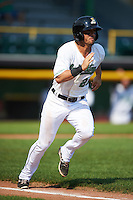 Clinton LumberKings outfielder Austin Cousino (26) runs to first during a game against the Great Lakes Loons on August 16, 2015 at Ashford University Field in Clinton, Iowa.  Great Lakes defeated Clinton 3-2.  (Mike Janes/Four Seam Images)
