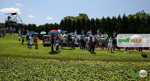 Crowd around the leading match on the 5th tee during the Final Round of the 2016 Tshwane Open, played at the Pretoria Country Club, Waterkloof, Pretoria, South Africa.  14/02/2016. Picture: Golffile | David Lloyd<br /> <br /> All photos usage must carry mandatory copyright credit (&copy; Golffile | David Lloyd)