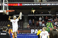 March 14, 2010.  Roslyn Gold-Onwude cuts down the net after the Stanford Cardinal beat the UCLA Bruins to win the 2010 Pac-10 Tournament.