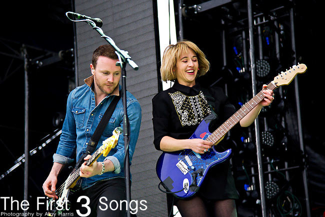 Rhydian Dafydd and Ritzy Bryan of The Joy Formidable performs during the The Beale Street Music Festival in Memphis, Tennessee.