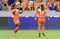 Houston, TX - Saturday July 22, 2017: Nichelle Prince celebrates her goal with Andressa Cavalari Machry during a regular season National Women's Soccer League (NWSL) match between the Houston Dash and the Boston Breakers at BBVA Compass Stadium.