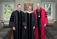 From left: Steven Olson, Trustee; Eric Garcetti, Mayor of the city of Los Angeles; Jonathan Veitch, President.<br /> Families, friends, faculty, staff and distinguished guests celebrate the class of 2019 during Occidental College's 137th Commencement ceremony on Sunday, May 19, 2019 in the Remsen Bird Hillside Theater.<br /> (Photo by Marc Campos, Occidental College Photographer)