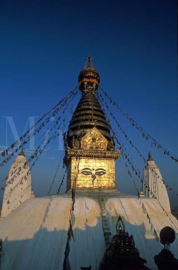 Swayambhunath Buddhist Stupa with prayer flags Kathmandu Nepal.
