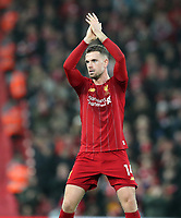1st February 2020; Anfield, Liverpool, Merseyside, England; English Premier League Football, Liverpool versus Southampton;  Jordan Henderson of Liverpool applauds the  supporters on the Kop as he is substituted off late in the match