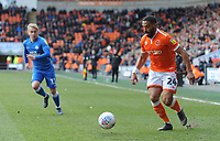 Blackpool's Liam Feeney under pressure from Peterborough United's Louis Reed<br /> <br /> Photographer Kevin Barnes/CameraSport<br /> <br /> The EFL Sky Bet League One - Blackpool v Peterborough United - Saturday 13th April 2019 - Bloomfield Road - Blackpool<br /> <br /> World Copyright &copy; 2019 CameraSport. All rights reserved. 43 Linden Ave. Countesthorpe. Leicester. England. LE8 5PG - Tel: +44 (0) 116 277 4147 - admin@camerasport.com - www.camerasport.com