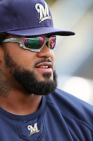 Prince Fielder #28 of the Milwaukee Brewers before game against the Los Angeles Dodgers at Dodger Stadium in Los Angeles,California on May 16, 2011. Photo by Larry Goren/Four Seam Images