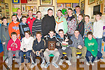 PRESENTATION: The St Patricks U14's winners of the division 5 county league 2008 at their medal presentation at their clubhouse in Blennerville on Friday seated l-r:  Gavin Collins, Clodagh Quane, Shane Doyle, Paul McMahon, Adam Kelly, Luke Quinlivan Darragh Collins. Back l-r: Tadhg Flynn, Jake Foley, Mike Enright, Leonard O'Sullivan, Maurice Hanson, Andrew Byrne, Barry O'Connor, Brendan Savage, Jack Dillane, Tommy Walsh, Gary Ellis, Roman Loucher and Eric Teahan.