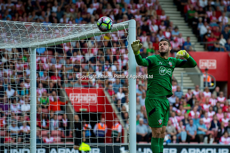 Fraser Forster of Southampton in action  during the Premier League match between Southampton and Swansea City  at St Mary's Stadium in Southampton, England, UK. Saturday 17 September 2016